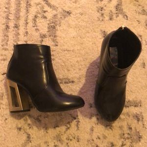 ASOS black ankle boots with gold heel